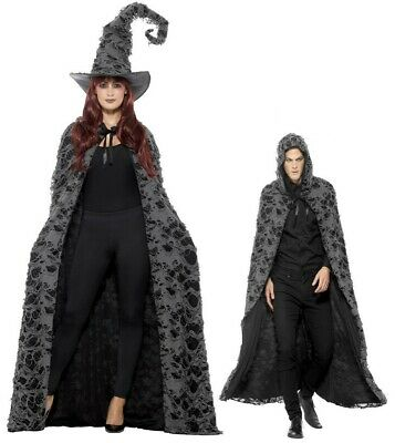 Adult Deluxe Cape Witch Wizard Halloween Fancy Dress Outfit Accessories Mens