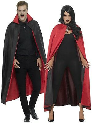 Adults Reversible Cape Mens Ladies Halloween Vampire Witch Fancy Dress Costume
