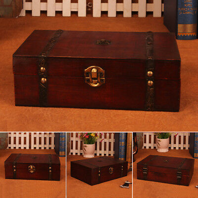 Large Retro Trinket Jewelry Lock Chest Handmade Vintage Wooden Storage Boxes