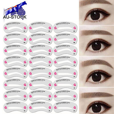 24 Styles Eyebrow Shaping Stencils Grooming Kit Makeup Shaper Set Template Tool