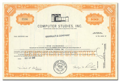 Computer Studies, Inc. Stock Certificate (Old Mag Tape Computer)