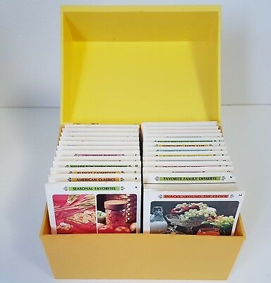 Vintage Betty Crocker Recipe Card Library Set Lot Yellow Plastic Box with Cards