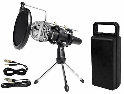 Rockville Dynamic Podcasting Podcast Microphone w/Mic Stand+Pop Filter+Cables