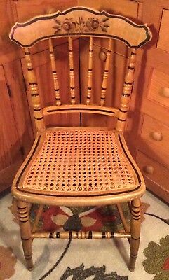 American Victorian Painted Cottage Chair Caned Seat Ca 1850-1890 Excellent