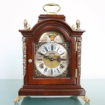 WARMINK Mantel Clock MOONPHASE Vintage HIGH GLOSS! LARGE DOUBLE BELL Chime Shelf