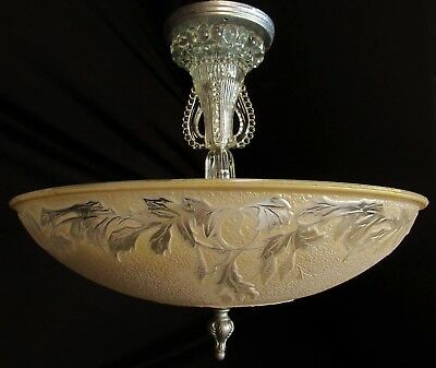 Vtg Deco Chandelier Semi Flush Mount Crystal Ceiling Fixture Glass Shade 40's
