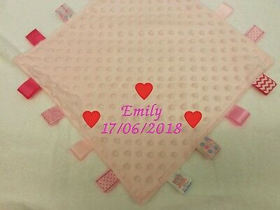 Personalised Embroidered Baby Taggy Taggie Blanket Comforter Boy Girl New Born