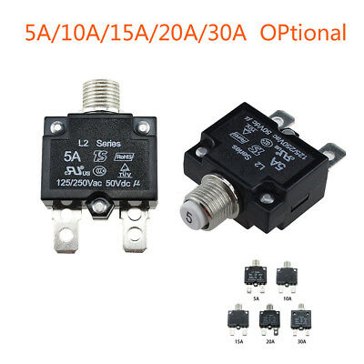 12/24V Push Button Resettable Thermal Circuit Breaker Panel Mount 5-30AMP Rating