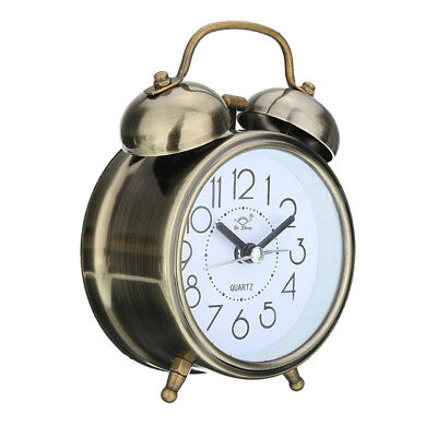 Double Bell Alarm Clock Bedside Wake Up Hammer Desk Bed Clock Green Copper