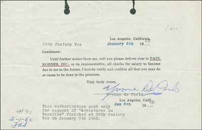 Yvonne De Carlo - Document Signed 01/06/1960