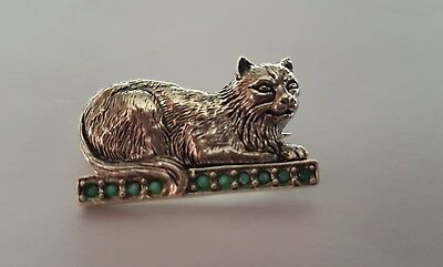 Very Nice Sterling Silver And Paste Cat Pin /  Badge / Brooch