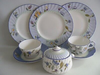 MINTON China Haddon Hall Blue Cups Saucers x 3 Plates Sugar Bowl