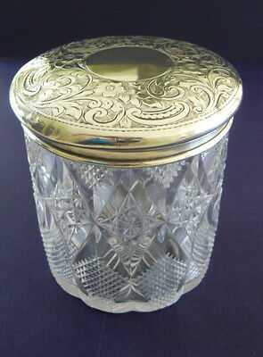 Antique Silver Top Cut Glass Vanity Jar by John Wilmot 1900 Birmingham