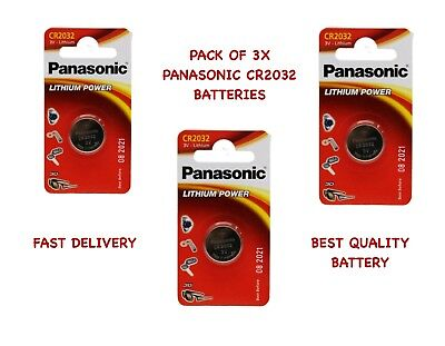 Pack of 3x CR2032 3V Lithium Coin Cell Multipurpose Panasonic Battery Key Remote