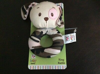 New Ganz Pink Camo Puppy Ring Rattle soft