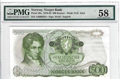 P-39a 1978 500 Kroner, Norway, Norges Bank,  PMG 58 Choice About Uncirculated
