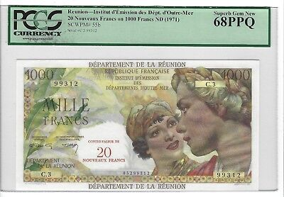 P-55b 1971 1000 Francs, Reunion, Institut d' Emission... PCGS 68PPQ SUPERB +