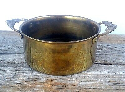 "Vintage Small Heavy Brass Planter Pot 4 1/2"" Diameter Decorative Flower Handles"