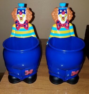 """Ringling Brothers & Barnum Bailey Circus 8"""" Clown Cup Snack Holder Blue Mug Lot"""