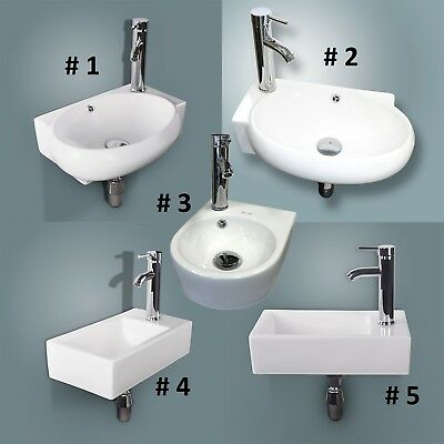 Corner Wall Mount Bathroom Sink Ceramic Porcelain Toilet Lavatory Bowl w/ Faucet