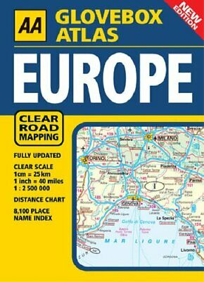 AA Glovebox Atlas Europe (Road Atlas) Spiral bound Book The Cheap Fast Free Post