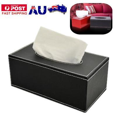 Tissue Box Dispenser PU Leather Cover Paper Storage Holder Napkin Case Organizer