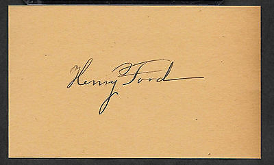 Henry Ford Autograph Reprint On Genuine Original Period 1910s 3X5 Card