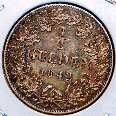 1842 German States Nassau 1/2 Gulden KM#63 Silver Coin *KEY DATE* XF color toned