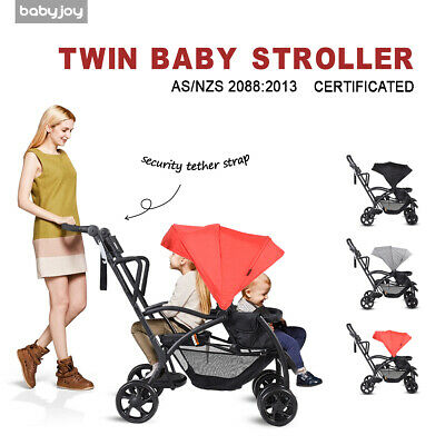 Ultra 2in1 Stand&Ride Twin Baby Stroller Toddler Bassinet Pram Tandem Pushchair