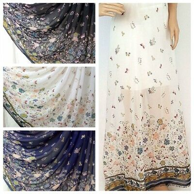 1Yard Flower Butterfly Print Semi-Sheer Chiffon Fabric DIY Sewing Cloth Silky