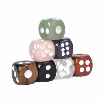 15mm Carved Gemstone Six Sided Dice for Games Accessories