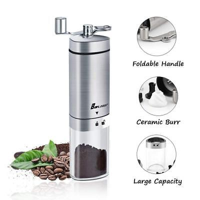 Manual Coffee Grinder, Coffee Mill,Conical Burr,Stainless Steel,Foldable Handle