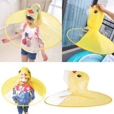 Cartoon Duck Children Kids Raincoat Umbrella UFO Shape Rain Hat Cape Foldable AU