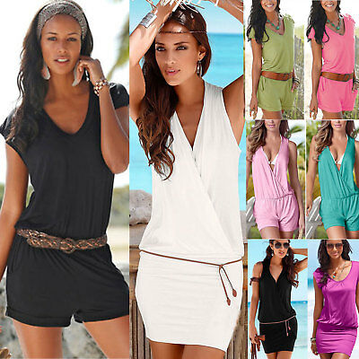 Womens Ladies Summer Holiday Casual Mini Playsuit Jumpsuit Beach Romper Shorts