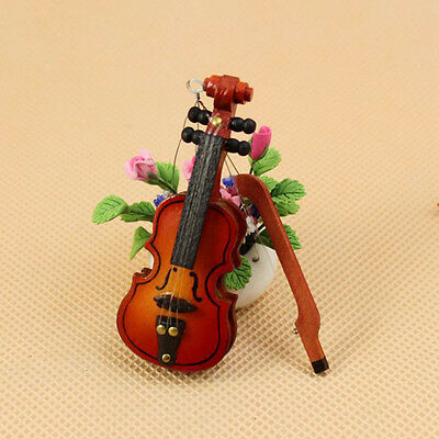 Dollhouse Miniature Musical Instrument Mahogany Wooden Violin Home Room / Bvdl