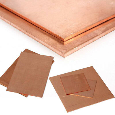 100x100mm 200x200mm T2 Copper Sheet Conductive Metal Cut Tool 0.8mm~5mm Thick
