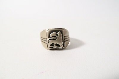 Alter Ring Äthiopien Q2 Lion of Judah Used Old silver ring bague Afrozip