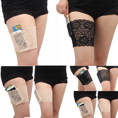 Ladies Non Slip Elastic Lace Anti Rubbing Thigh Band with Secret Pocket Holder