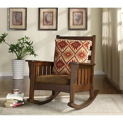 Rustic Mission Upholstered Rocking Chair Brown Wood w/Cushioned Foam Seat Pillow