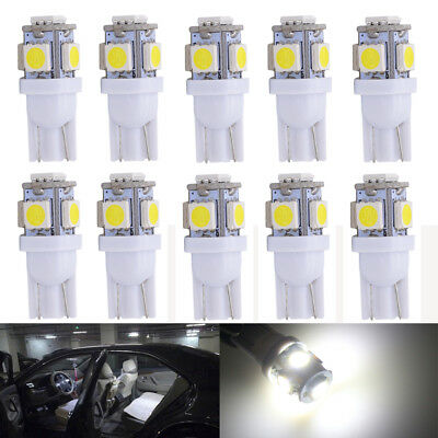 10x 12V White T10 W5W 5LED Car Wedge Dash Side Tail Park Number Plate Light Bulb