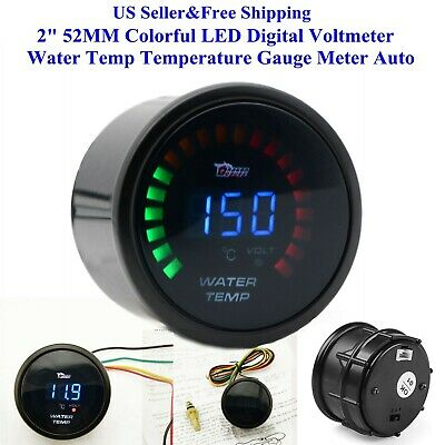 "2"" 52MM Colorful LED Digital Voltmeter Water Temp Temperature Gauge Meter Auto"
