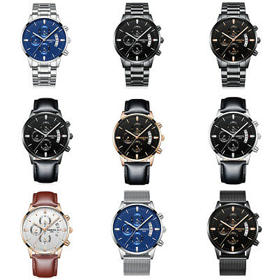NIBOSI Men's Luxury Stainless Steel Quartz Analog Sports Waterproof Wrist Watch