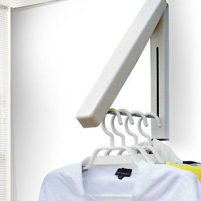 Stainless Folding Wall Hanger Mount Retractable Clothes Indoor Hangers