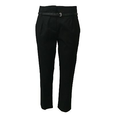 TELA women's trousers black cotton with belt mod CARD MADE IN ITALY
