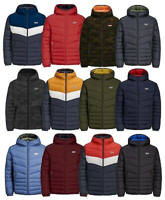 JACK & JONES Mens Quilt Puffer Jacket Lightly Padded Warm Hooded Outdoor Coat