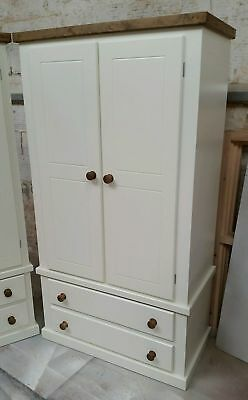 Shaftesbury Gents 2 Drawer Wardrobe White With Jacobean Trim No Flat Packs