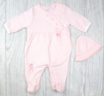Baby Girls Spanish Style Traditional Satin Bow  Pink Babygrow & Hat Outfit AW'18