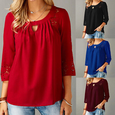Women's Blouse Fashion Chiffon Sexy 3/4 Sleeve Hollow Cut T-Shirt Tops Pullovers