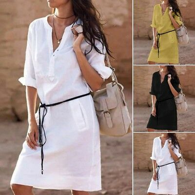 Fashion Women Button Long Tops Tunic Boho Ladies Summer Casual Beach Shirt Dress
