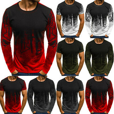 Mens Long Sleeve T Shirt Stylish Slim Fit Casual Blouse Tops Clothing Muscle Tee